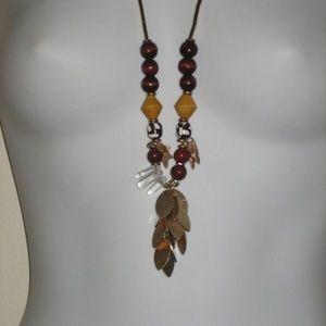 Ann taylor LFOT Multi bead Leaf Necklace NWT
